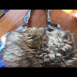 B Makowsky faux fur bag
